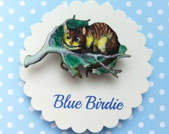 Cheshire cat brooch Alice in wonderland jewelry Cheshire cat jewelry Alice in wonderland brooch Cheshire cat jewellery Alice gift