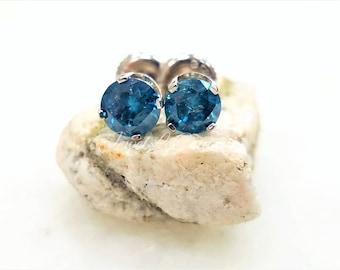 1.10TCW Vivid Blue Diamond Stud Earrings 14k White Gold Round Brilliant Cut Diamond Gold Stud Earrings Solitaire Diamond 4 Prong