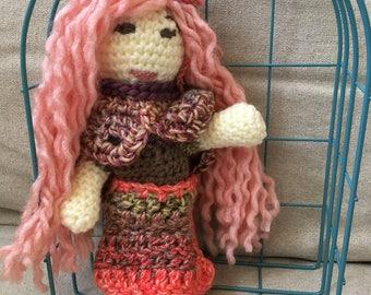 Handmade crocheted pink ragdoll