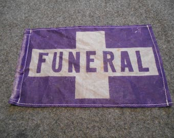 Vintage Hearse Funeral Flag