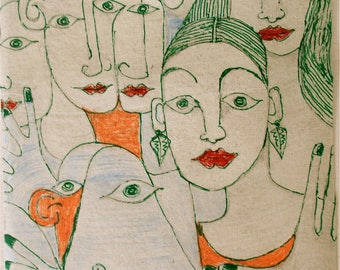 Art outsider art modern art original drawing 'The Crowd'by Alfred Halliday Art