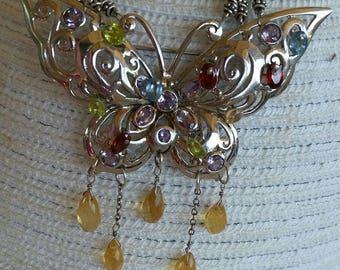 Sterling Sliver Butterfly Necklace, Multi Gemstone necklace, Statement Necklace,  Citrine, Peridot, Garnet Necklace