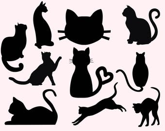 Cats Svg Clipart, Cat svg, Kitties svg, Cat dxf, Cats cutfiles, Kitty clipart, Cats silhouette, dxf files for silhouette cameo, cricut svg
