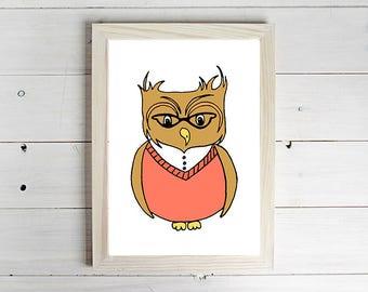 The Wise Owl - Unframed Art Print, Owl Drawing, Nursery Picture, Animal Wall Art, Children's Decor, Kid's Bedroom.
