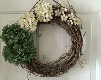 Simple Spring Wreath- White/Ivory/Green