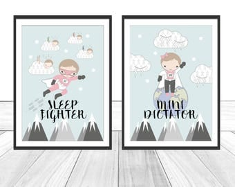 Set of 2. Baby Nursery Print - Sleep Fighter & Mini Dictator. Baby Nursery Decor. Baby Nursery Wall Art. Baby Girl Gift.