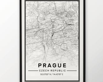 Prague City Map Print, Modern Contemporary poster in sizes 50x70 fit for Ikea frame All city available London, New york Paris Madrid Rome