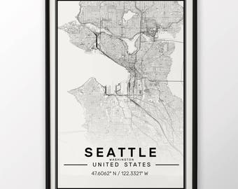 Seattle City Map Print, Modern Contemporary poster in sizes 50x70 fit for Ikea frame All city available London, New york Paris Madrid Rome