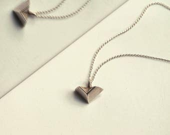 Veer Dainty Geometric Silver Pendant Necklace