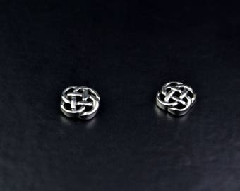 Celtic Design Sterling Silver Stud Earrings with Eternal Knot