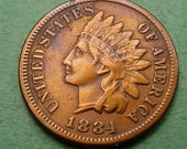1884 Indian Head Cent   Very Fine FREE Shipping In United States # ET309