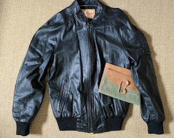 Vintage 70s/80s Black Leather Moto Jacket || Leather Bomber Jacket