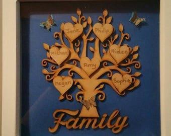 Personalised family tree photo frame