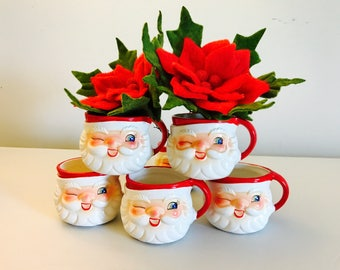 Vintage Dexter Winking Santa Mugs Set Mint Original Box New Old Stock Figurine Japan 1950's