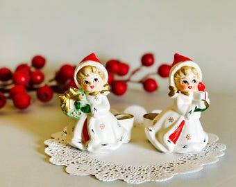 Vintage Napco Christmas Girls with Presents Wreath Snowflake Candleholder Figurine Japan 1950's