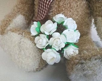 50  Handmade Mulberry Paper Flowers White  Wedding Rose Code: R 05