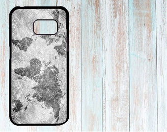 Cover for Samsung, Personalised phone cover, Custom phone cover, Case for Samsung Galaxy S3/S4/S5/S6/S7 Vintage World Map Concrete Grey