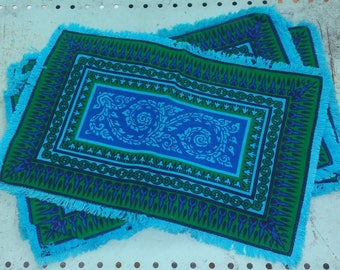 Bohemian Placemats in Beautiful Blue and Green Pattern