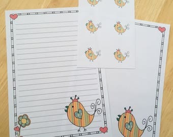 Cute doodle type bird letter writing paper with 6 envelope seals