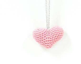 Crochet, handmade gift heart pendant long chain necklace