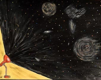 Acrylic paint on paper - the light - signed by the artist Em'Art - Emmanuelle Baudry - fantastic Vision of the cosmos