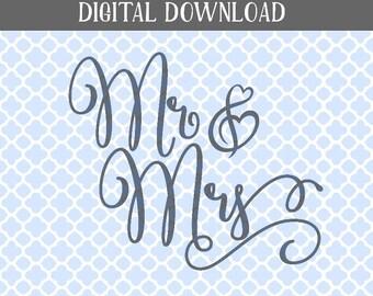 Mr&Mrs SVG, MrandMrs printable, Wedding SVG, Wedding diy
