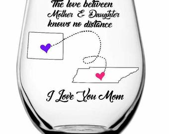 The Love Between Mother and Daughter Stemless Wine Glass
