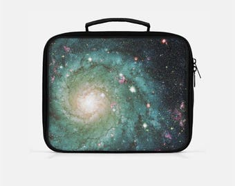 Galaxy Lunch Box, Space Lunch Box, Stars Lunch Box, Lunch Box for Women, Green Lunch Box, Adult Lunchbox, Lunch Bag for Women,