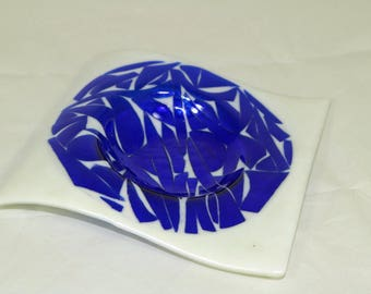 Blue and White Mosaic Fused Glass Candle Holder