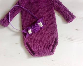Baby Lace Romper/Lace Sleeve Romper/Lace Romper/Newborn/Knit Romper/Knitted Lace Romper/Long Sleeve Romper/Knit Newborn Romper/Photo prop