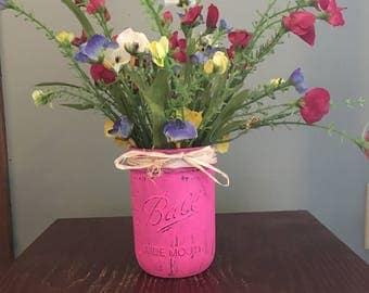 Pink Mason jar decoration Mothers Day gift gift for her summer
