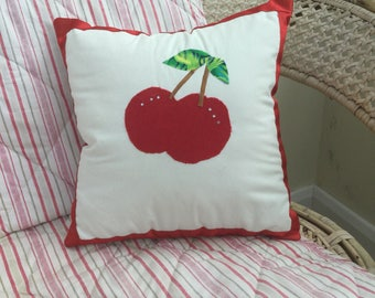 Red cherry appliqué motif handmade cushion