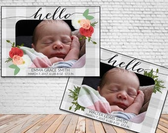 Birth Announcement HELLO Floral or Greenery with Grey Buffalo Check