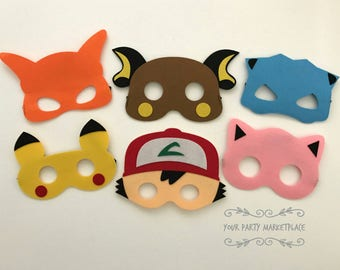 SET OF 6 Pokemon Masks, Pokemon Party Favors, Pokemon Birthday, Pokemon Banner, Pokemon Party, Pikachu Party, Pokemon, Pikachu