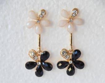 Vintage Flower Earrings Black Flower Gemstone Earrings