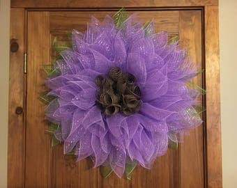 Made to order Deco Mesh Flower Wreath