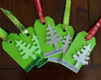 Evergreen Christmas Tags, Set of 5