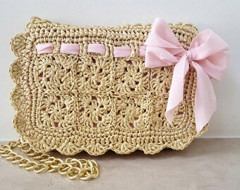 """Valentina"" natural raffia bag"