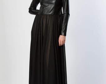 Black Long Sleeves Loose Dress/Extravagant Leather Chiffon Dress