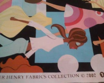 1 FULL YARD Alexander Henry fashion girls  wildly popular 2002 cotton fabric  EXQUISITE   Rare, Out Of Print, Hard To Find  !