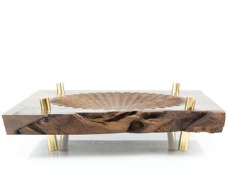 Modern Sculpted Live Edge Black Walnut Bowl with Solid Brass Legs - FREE SHIPPING
