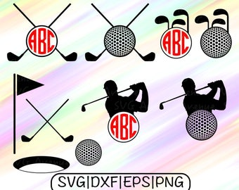 Golf SVG File, Golf Clipart, Golf Monogram, Golf Cut Files, Golf Cricut, Golf Dxf, Golfing SVG Files, Golfing Circle Monogram, Golf Vector