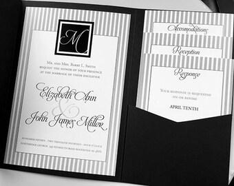 Grey Stripe Wedding Invitation Suite