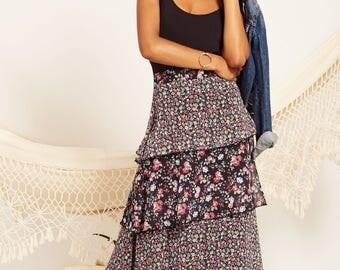 Long black skirt. Floral print skirt, Boho chic, Liberty print, maxi skirt