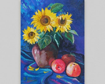 Flowers still life Sunflowers painting Original painting Acrylic Canvas art Wall decor Realism original artwork Acryli Discount painting 50%