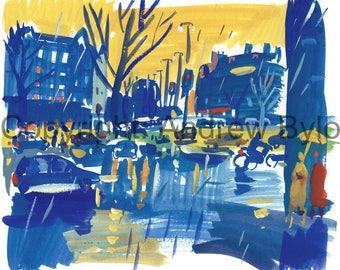 Rainy city street