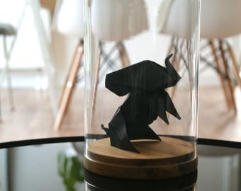 Origami Sculpture Elephant under bell. Taxidermy. Gift for child. Decoration. Jumbo.