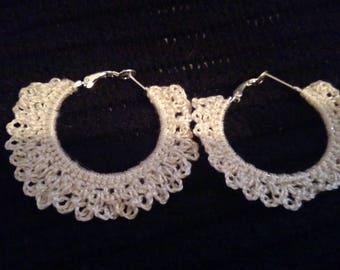 Dainty Crocheted Hoop Earrings