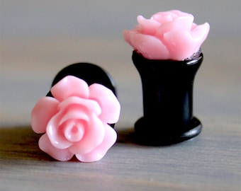 Pink Rose Plugs - 10g -8g - 6g - 4g - 2g - 0g - 00g - 7/16 - 1/2 - 9/16 - 5/8 - 18mm - 3/4 - 7/8 - 1 inch
