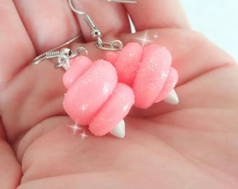 Cotton Candy Earrings,Fairy Floss Earrings,Food Jewelry, Miniature Food, Polymer Clay Charm, Kawaii Polymer Clay Charm,